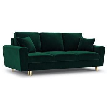 Sofa rozkładana 3-os. Moghan 235 cm butelkowa zieleń nogi złote