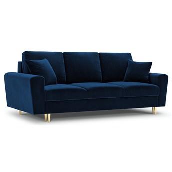 Sofa rozkładana 3-os. Moghan 235 cm królewski niebieski nogi złote