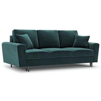 Sofa rozkładana 3-os. Moghan 235 cm petrol nogi czarny chrom