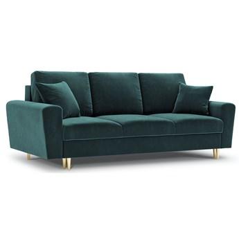 Sofa rozkładana 3-os. Moghan 235 cm petrol nogi złote