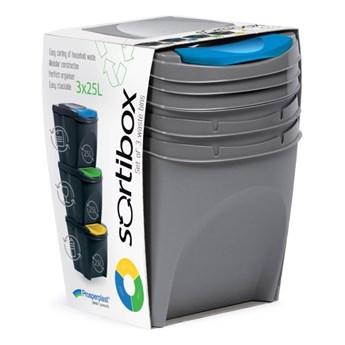 Kosz do segregacji śmieci Prosperplast Sortibox 3 x 25 l szary