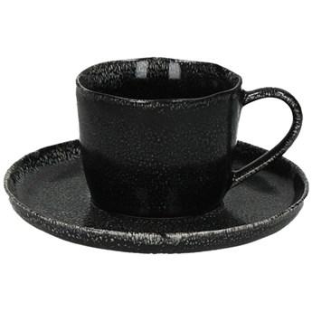 Filiżanka ze spodkiem Porcelino Ø16x9 cm czarna