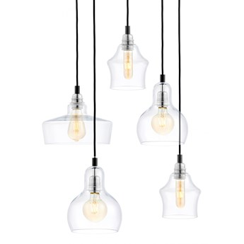 Lampa wisząca Longis Plafon 5 ∅48x140 cm czarno-transparentna