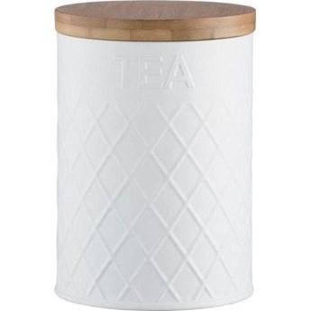 Pojemnik na herbatę Embossed 1.35 L biało-drewniany