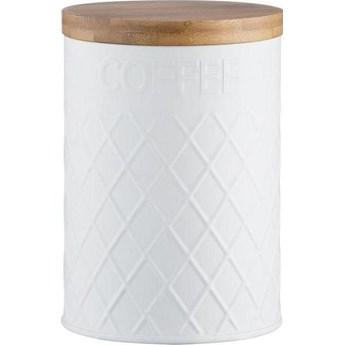 Pojemnik na kawę Embossed 1.35 L biało-drewniany