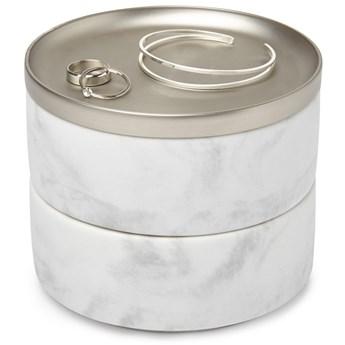 Pudełko na biżuterię Tesora 11x13 cm biało-srebrne