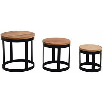Zestaw trzech stolików kawowych Sima drewniane
