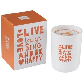 Świeca zapachowa Live, laugh, sing... Ø9x12 cm biało-pomarańczowa