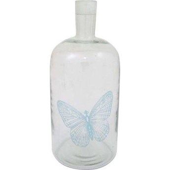 Świecznik butelka Butterfly z niebieskim motylem