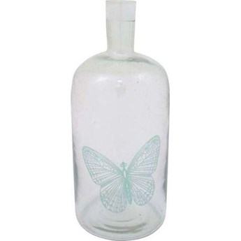 Świecznik butelka Butterfly z zielonym motylem