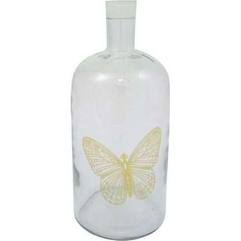Świecznik butelka Butterfly z żółtym motylem