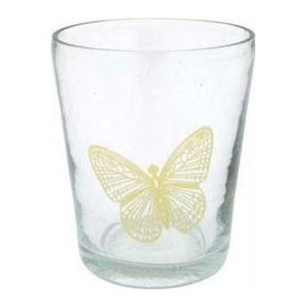 Świecznik szklanka Butterfly z żółtym motylem