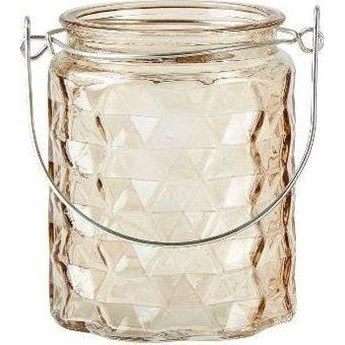 Świecznik szklany KJ Collection 8x10 cm jasnoróżowy