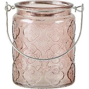 Świecznik szklany KJ Collection 8x10 cm różowy