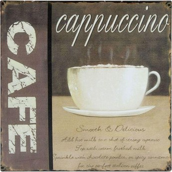 Tabliczka metalowa Decor Cafe Cappuccino 24x24 cm