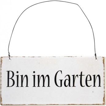 Zawieszka metalowa w języku niemieckim Bin im Garten