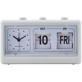 Zegar z budzikiem i kalendarzem Retro szary