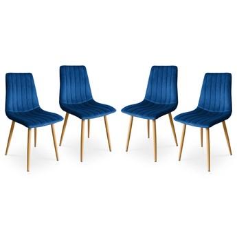 Bettso Zestaw krzeseł tapicerowanych TUX granatowy / noga dąb