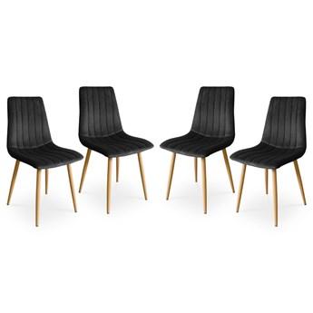 Bettso Zestaw krzeseł do salonu lub jadalni TUX czarny / noga dąb