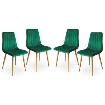 Bettso Zestaw nowoczesnych krzeseł TUX zielony / noga dąb