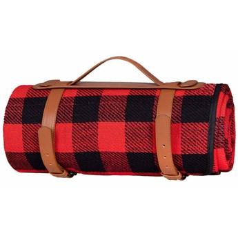 Koc plażowy piknikowy 200x150cm retro mata czerwono-czarna krata
