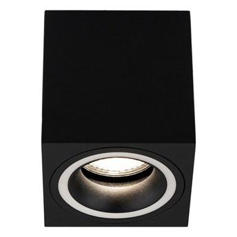 Punktowa oprawa sufitowa natynkowa HALIS SQ Black GU10 kwadratowa czarna, biały pierścień EDO777333 EDO
