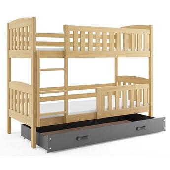 Sosnowe łóżko piętrowe z szarą szufladą 80x190 - Celinda 2X
