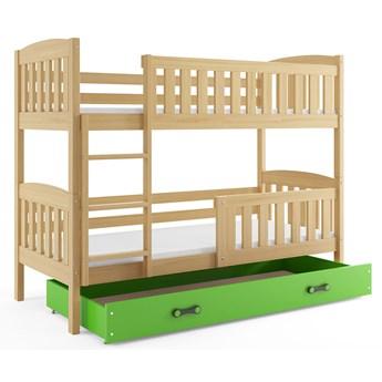 Łóżko drewniane z zieloną szufladą 90x200 - Celinda 3X