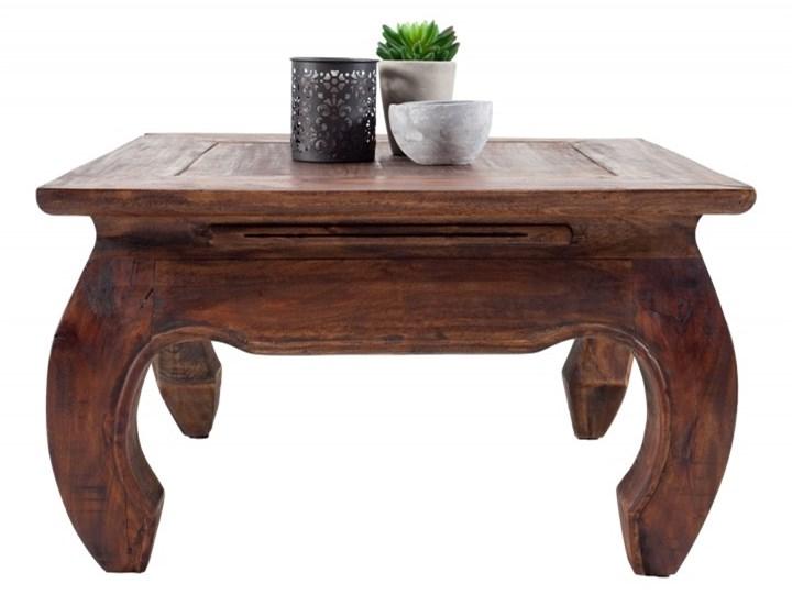 Stolik Kawowy mahoniowy Opium 60x60 cm - styl Shabby Wysokość 35 cm Styl Kolonialny Drewno Kształt blatu Kwadratowe