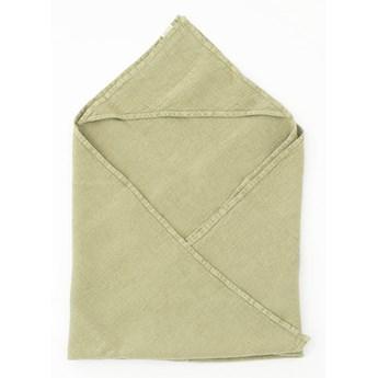 Dziecięcy zielony lniany ręcznik Linen Tales Waffle, 100x100 cm