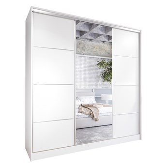 Szafa przesuwna z lustrem i szufladami ELIA 200 biała