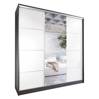 Szafa przesuwna z lustrem i szufladami ELIA 200 czarny / biały
