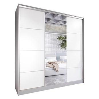 Szafa przesuwna z lustrem i szufladami ELIA 200 szary / biały