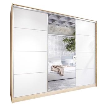Szafa przesuwna z lustrem i szufladami ELIA 270 sonoma / biały