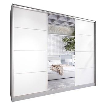 Szafa przesuwna z lustrem i szufladami ELIA 250 szary / biały