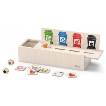 VIGA Układanka Gra edukacyjna drewniana do nauki sortowania śmieci