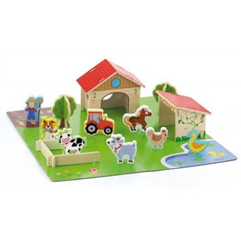 Viga Drewniana Farma dla Zwierząt 3D Zagroda ze zwierzętami 30 elementów