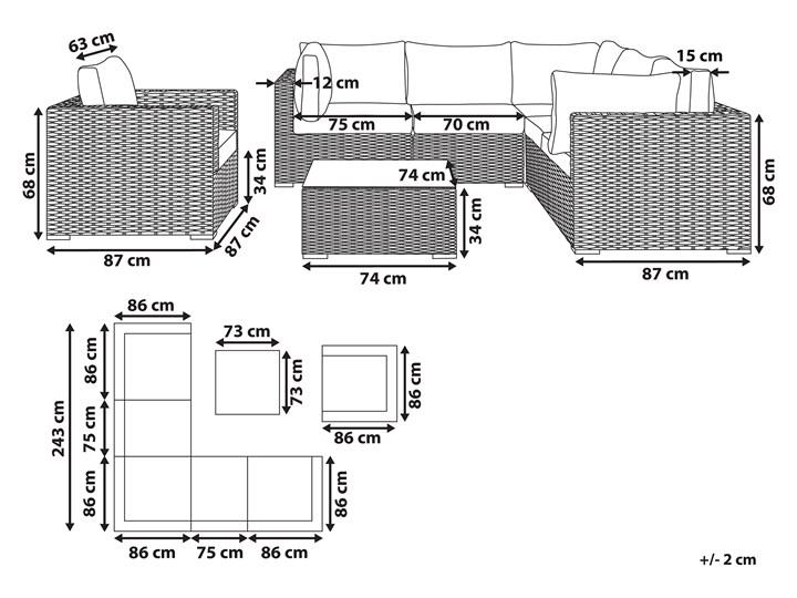 Zestaw mebli ogrodowych brązowy rattan szare poduchy modułowy narożnik fotel stolik kawowy Zestawy wypoczynkowe Aluminium Zestawy kawowe Technorattan Zestawy modułowe Kategoria Zestawy mebli ogrodowych Tworzywo sztuczne Styl Nowoczesny