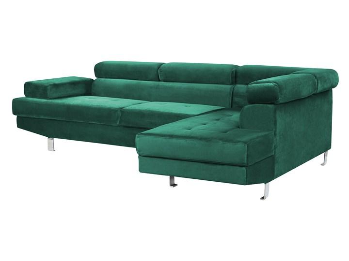 Narożnik lewostronny zielony tapicerowany welurem 5 osobowa sofa z regulowanymi zagłówkami kanapa do salonu Styl Nowoczesny
