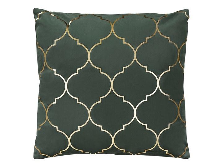 Poduszka dekoracyjna zielona marokańska koniczyna 45 x 45 cm z wypełnieniem akcesoria salon sypialnia Poliester 45x45 cm Kwadratowe Kolor Zielony