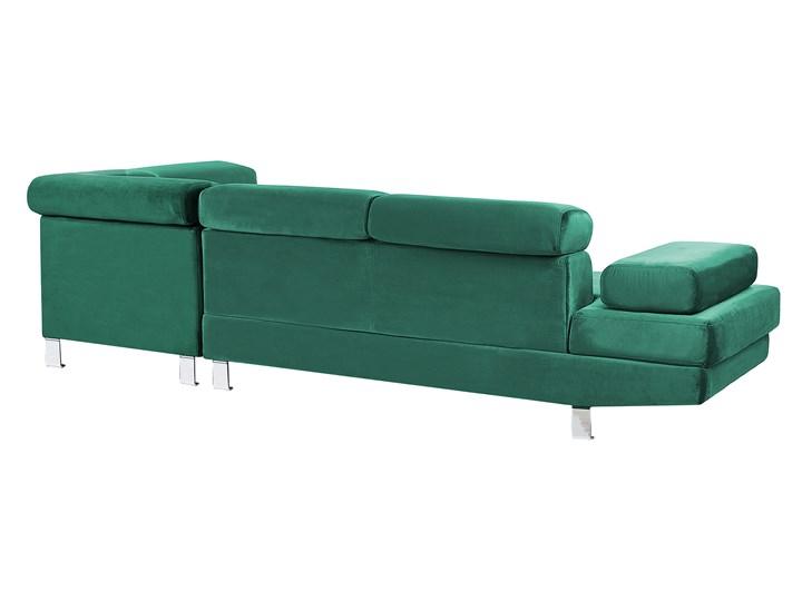 Narożnik lewostronny zielony tapicerowany welurem 5 osobowa sofa z regulowanymi zagłówkami kanapa do salonu Materiał obicia Tkanina Styl Nowoczesny