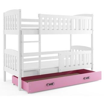 Piętrowe łóżko dla dzieci z różową szufladą 80x190 - Elize 2X