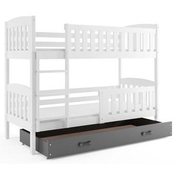 Drewniane łóżko dla dzieci z szarą szufladą 80x190 - Elize 2X