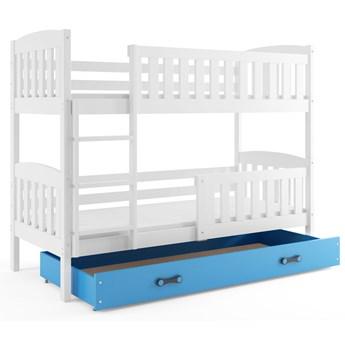 Drewniane łóżko z niebieską szufladą 90x200 - Elize 3X