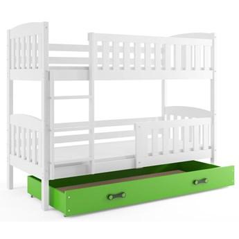 Białe łóżko piętrowe z zieloną szufladą 90x200 - Elize 3X
