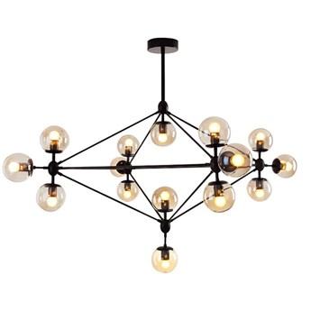Żyrandol LAMPA wisząca CGPYRAMID15 COPEL industrialna OPRAWA zwis molekuły szklane kule balls loft czarny bursztynowe