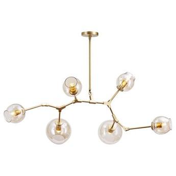 LAMPA wisząca CGCHEMISTRY6GOLD/AMBER COPEL modernistyczna OPRAWA molekuły zwis złoty bursztynowy