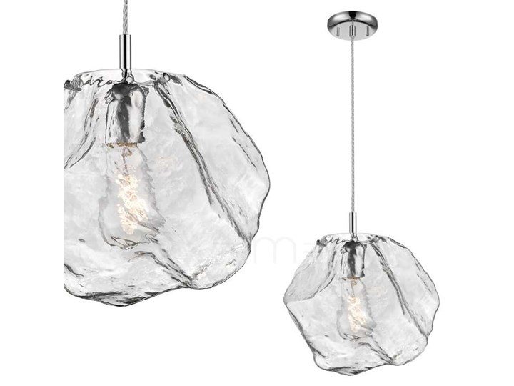 LAMPA wisząca ROCK P0488-01A-F4AC Zumaline szklana OPRAWA kamień zwis chrom przezroczysty