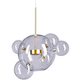 LAMPA wisząca  KKST-0801-5+1 szklana OPRAWA zwis LED 14W 3000K kule bąbelki przezroczyste złote
