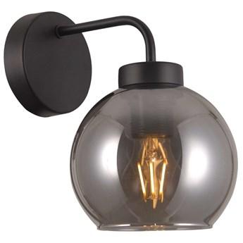 Kinkiet LAMPA ścienna POGGI WL-28028-1 Italux szklana OPRAWA kula ball czarna przydymiona